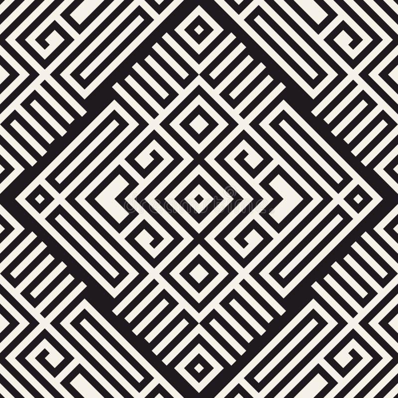 无缝抽象的背景 传染媒介几何线样式 纺织品和包装的样式 库存例证