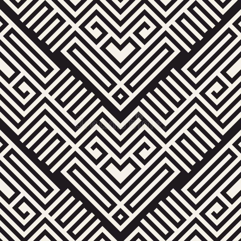 无缝抽象的背景 传染媒介几何线样式 纺织品和包装的样式 向量例证