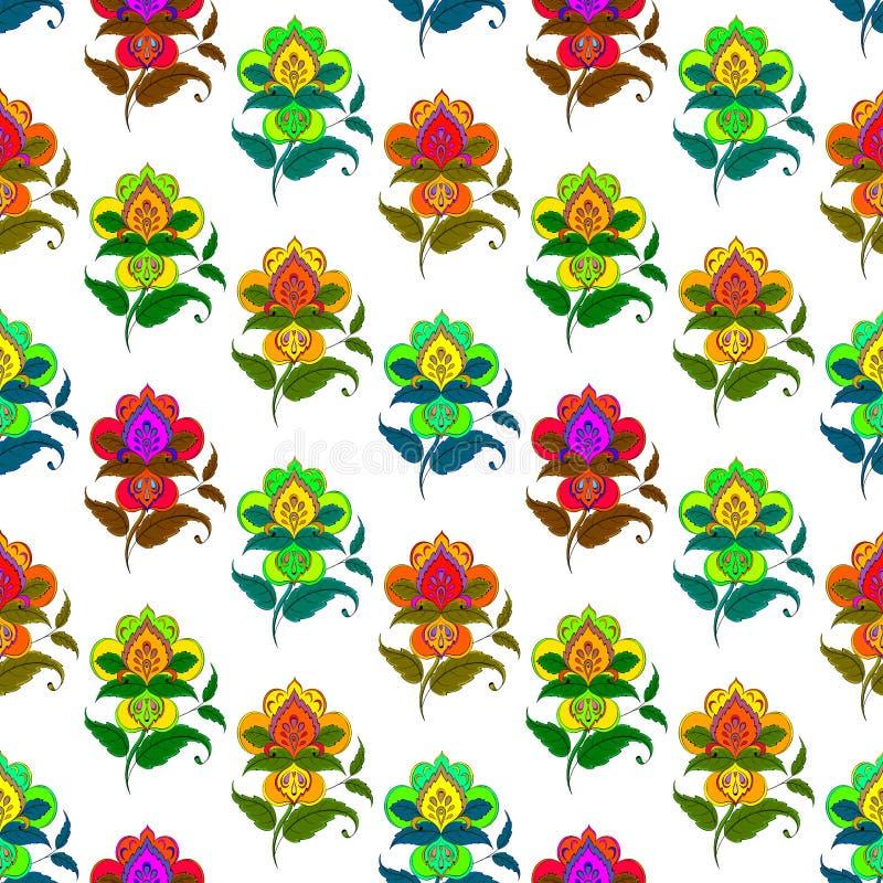 无缝抽象的花 向量例证