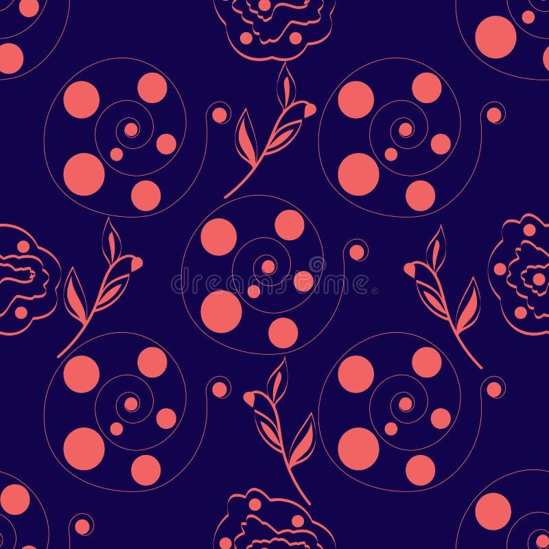 无缝抽象紫色背景桃红色圈子在螺旋 向量例证