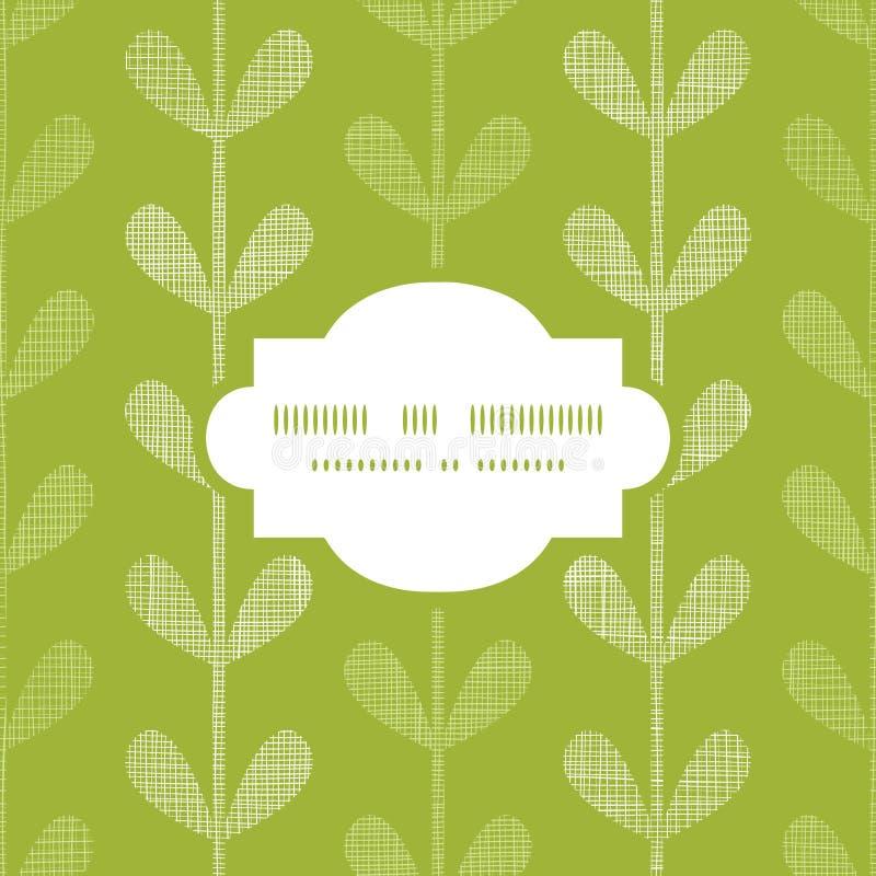 无缝抽象纺织品绿色藤叶子的框架 向量例证