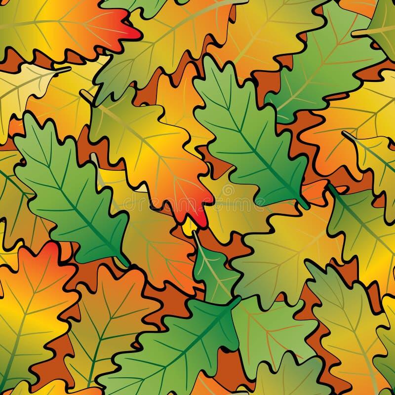 无缝抽象背景叶子的橡木 皇族释放例证
