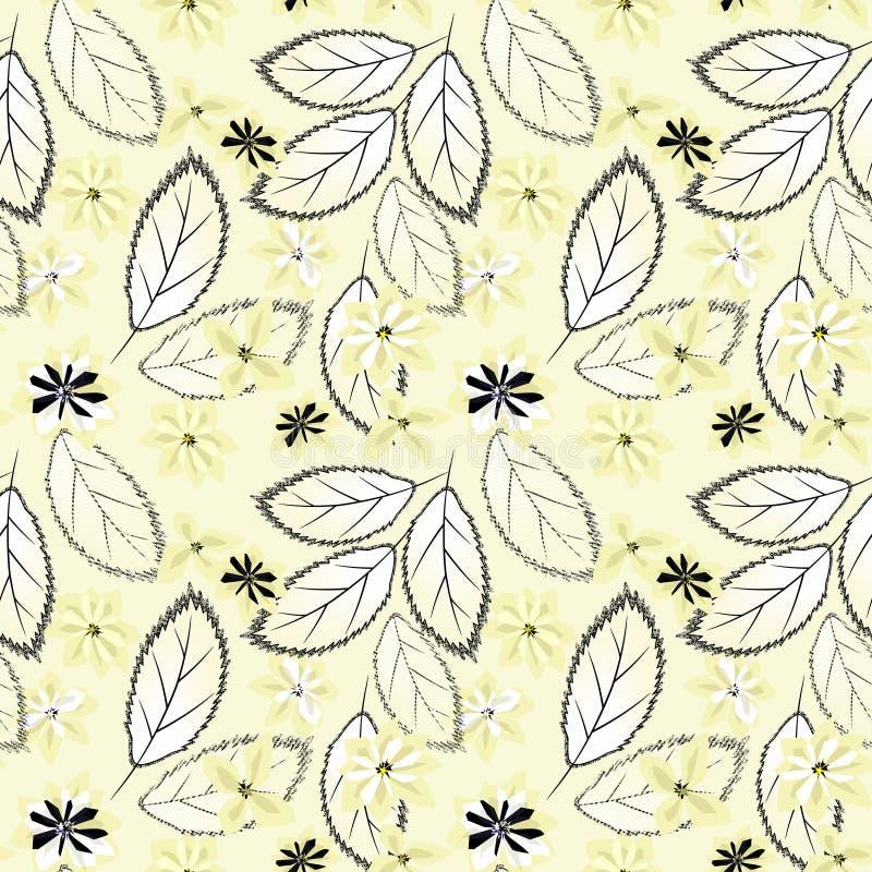 无缝抽象花卉的模式 黄色花,在轻的背景的叶子 皇族释放例证