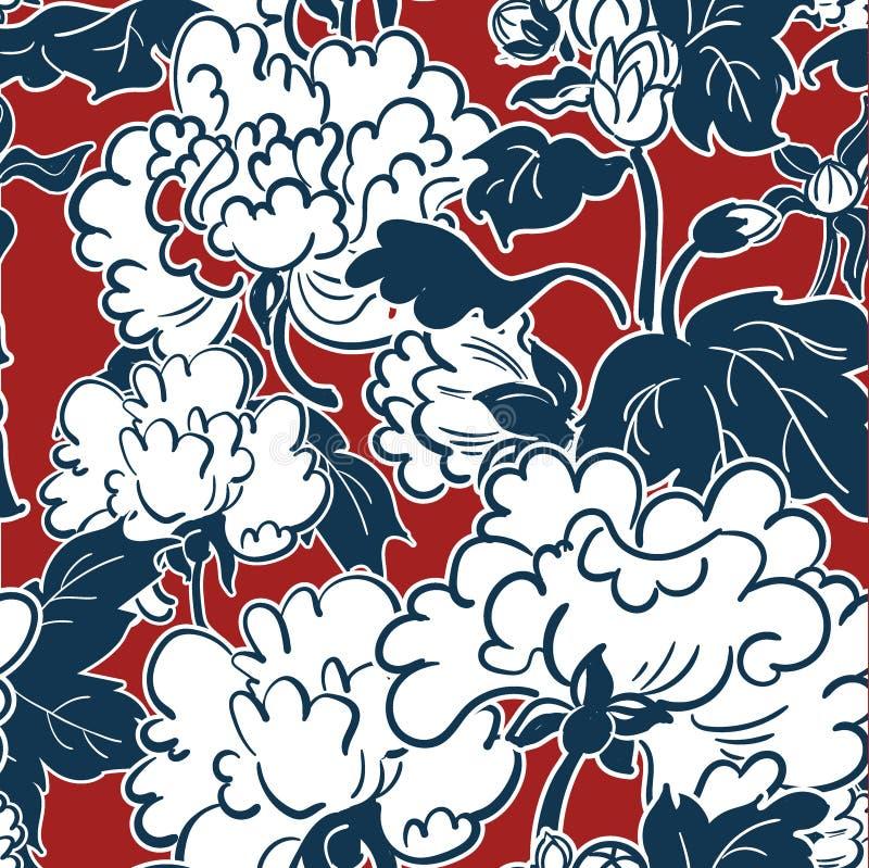 无缝日本传统例证牡丹的样式 向量例证