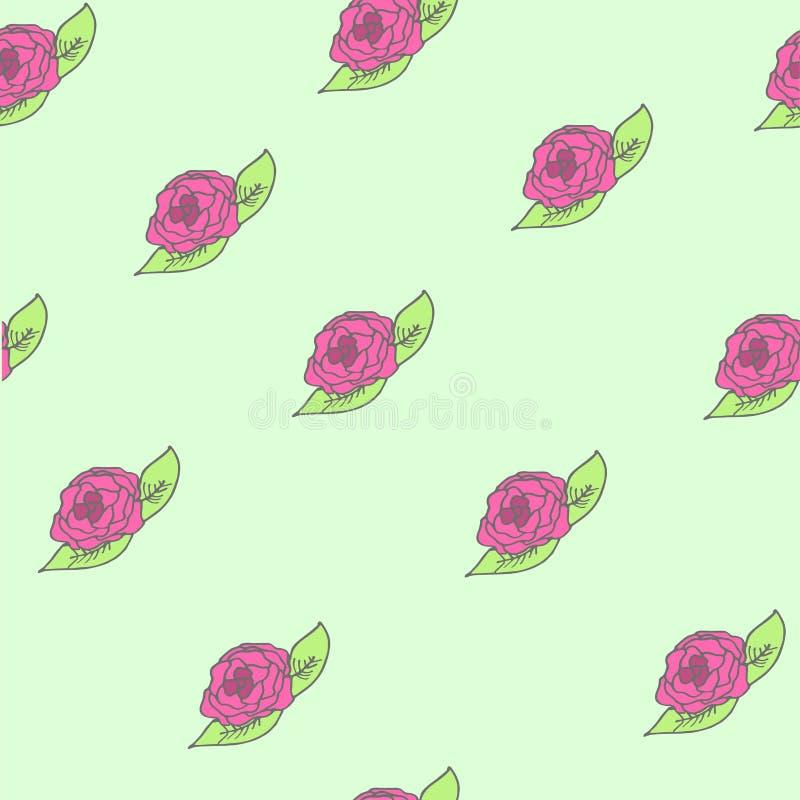 无缝最佳的现代装饰品模式塑料复制品的玫瑰 库存图片