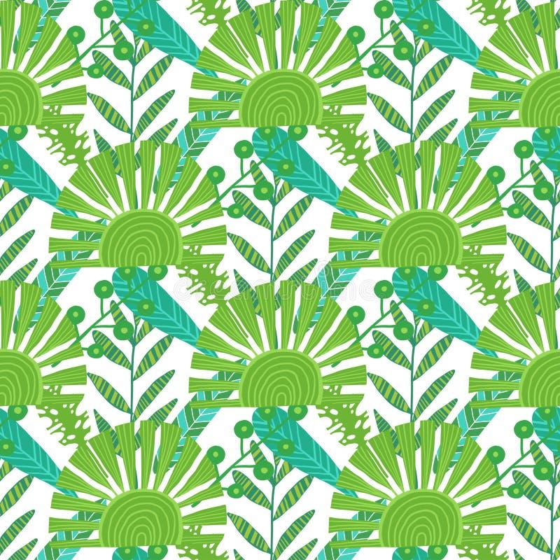 无缝本质的模式 手拉的抽象热带夏天背景棕榈, monstera在剪影,线艺术离开 皇族释放例证