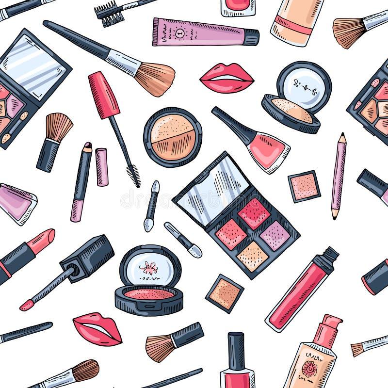 无缝构成的模式 不同的化妆用品的例证 向量例证