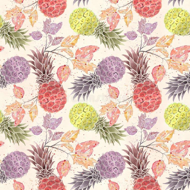 无缝果子的模式 五颜六色的菠萝,在轻的米黄背景的小树枝 库存例证