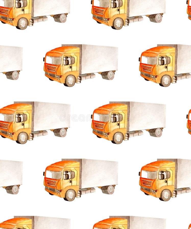 无缝样式运输和后勤有橙色小室和灰色车体的卡车卡车 库存例证