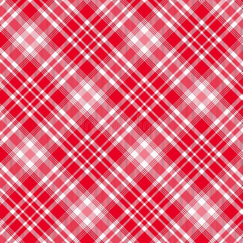 无缝格子呢,红色和白色格子花呢披肩的样式 格子花呢披肩的,桌布,衣裳,衬衣,礼服,纸,卧具,毯子纹理, 皇族释放例证