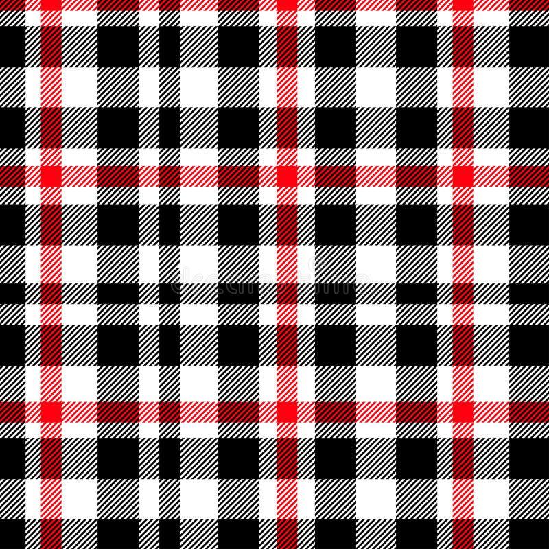 无缝格子呢,红色和黑格子花呢披肩的样式 格子花呢披肩的,桌布,衣裳,衬衣,礼服,纸,卧具,毯子纹理, 向量例证
