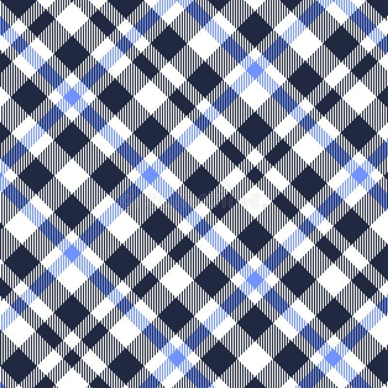 无缝格子呢,蓝色,白色和黑格子花呢披肩的样式 格子花呢披肩的,桌布,衣裳,衬衣,礼服,纸,卧具纹理, 向量例证