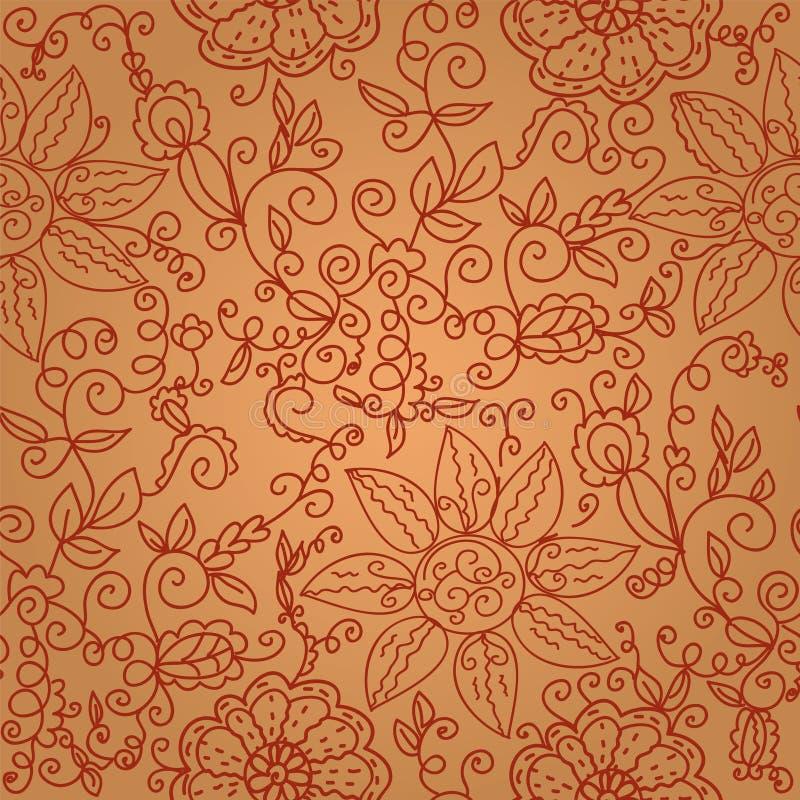 无缝棕色花卉华丽的模式 库存例证