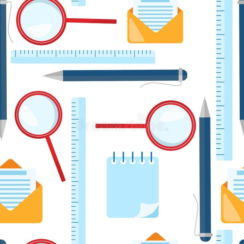无缝模式的学校 放大镜,圆珠笔,统治者,信封信件元素 向量例证