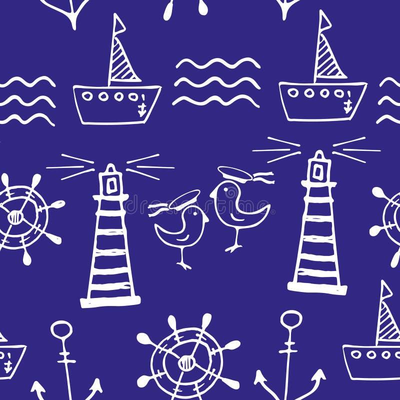 无缝模式的海运 手拉的乱画 库存例证