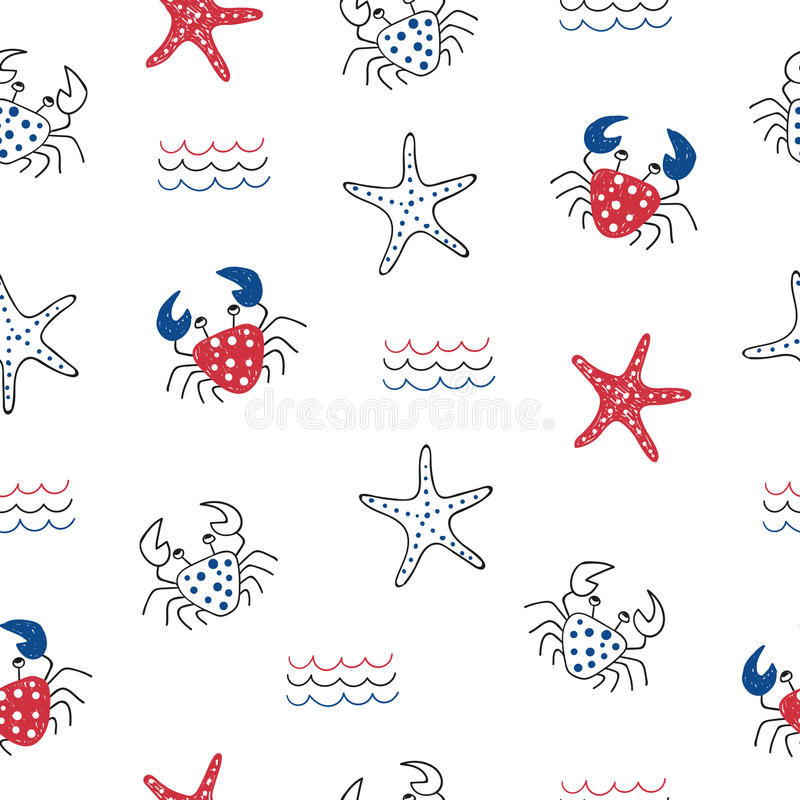 无缝模式的海运 海洋生物 库存例证