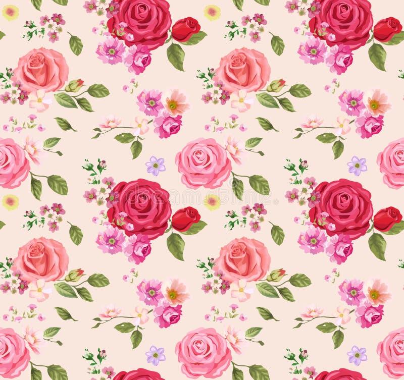 无缝模式的玫瑰 背景细部图花卉向量 设计构成 库存例证