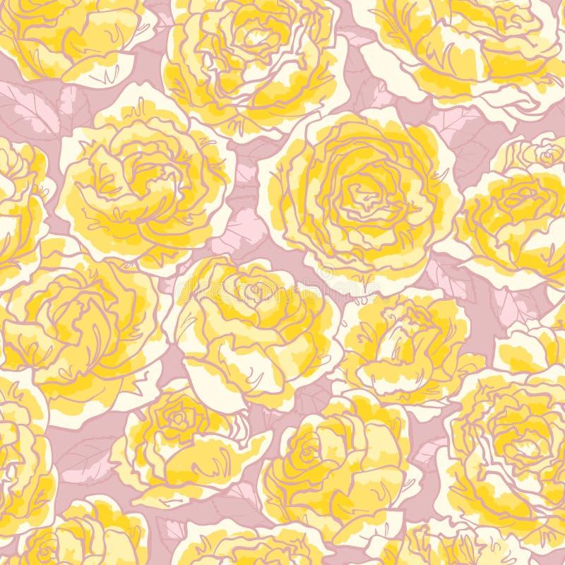 无缝模式的玫瑰 向量例证