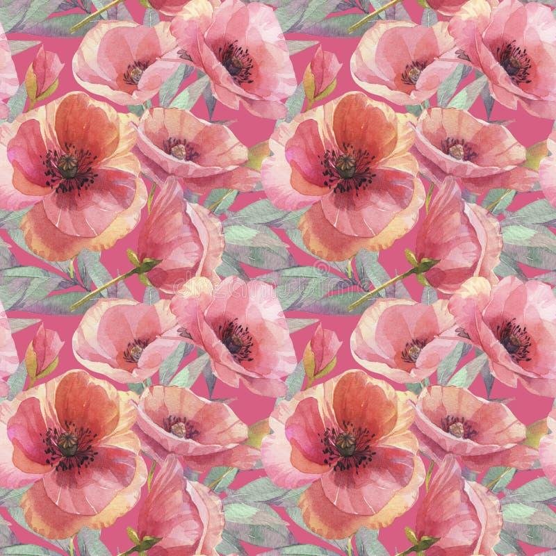 无缝模式的鸦片 额嘴装饰飞行例证图象其纸部分燕子水彩 背景花光playnig 0 8可用的eps花卉版本墙纸 向量例证