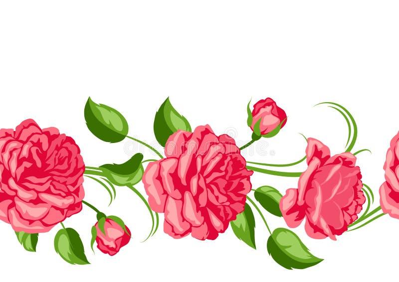 无缝模式红色的玫瑰 美丽的装饰花 向量例证