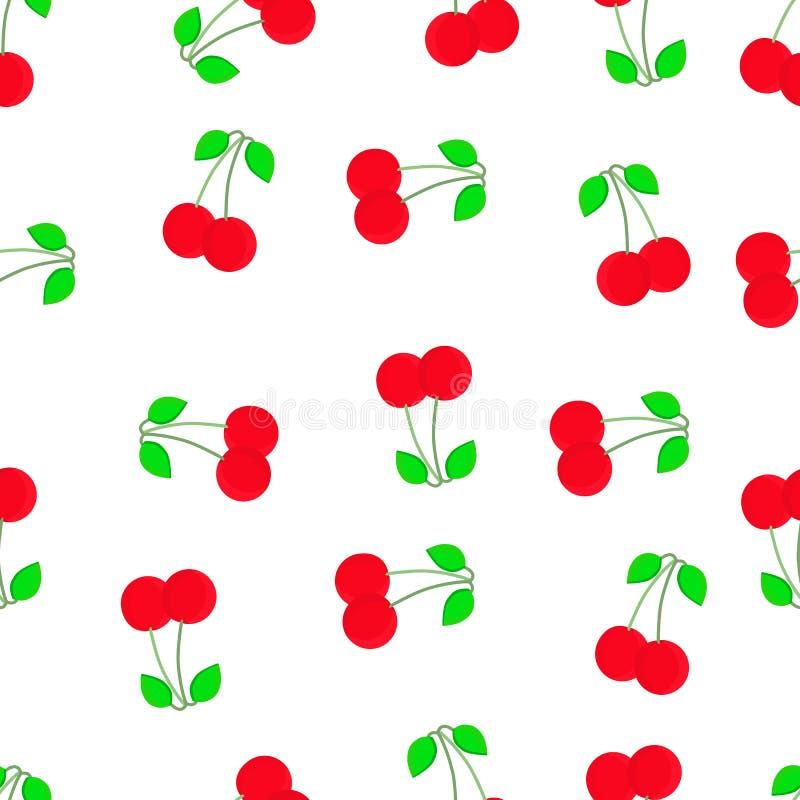 无缝樱桃的模式 有益于纺织品,包裹,墙纸等等 在白色背景隔绝的甜红色成熟樱桃 向量例证