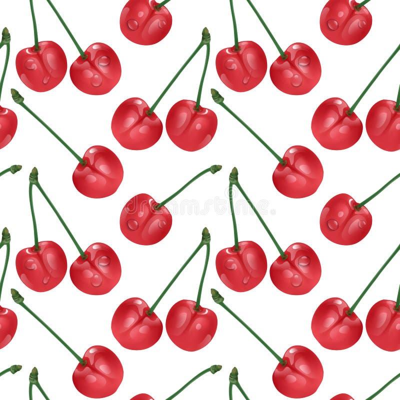 无缝樱桃的模式 有益于纺织品,包裹,墙纸等等 在白色隔绝的甜红色成熟樱桃 向量例证