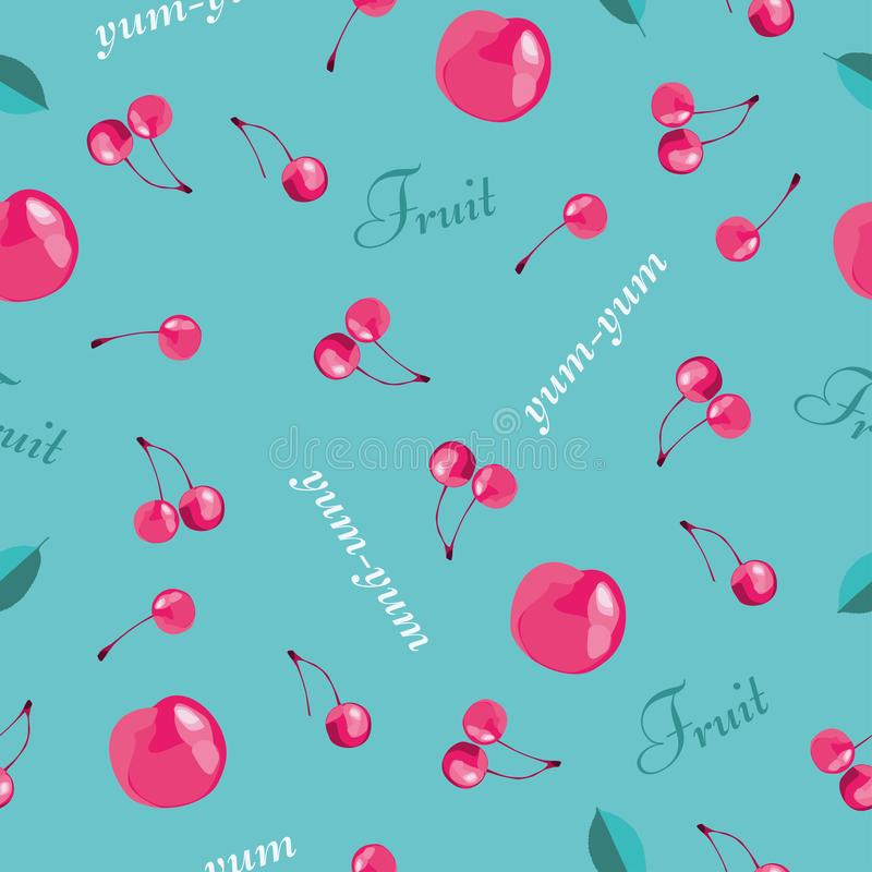无缝樱桃的模式 有益于纺织品,包裹,横幅等等 甜成熟樱桃 库存例证