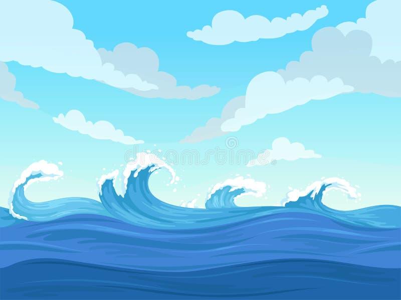 无缝海洋的地表电波 水下的动画片液体样式河和海传染媒介背景 库存例证