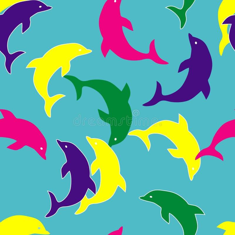 无缝海豚的模式 向量例证