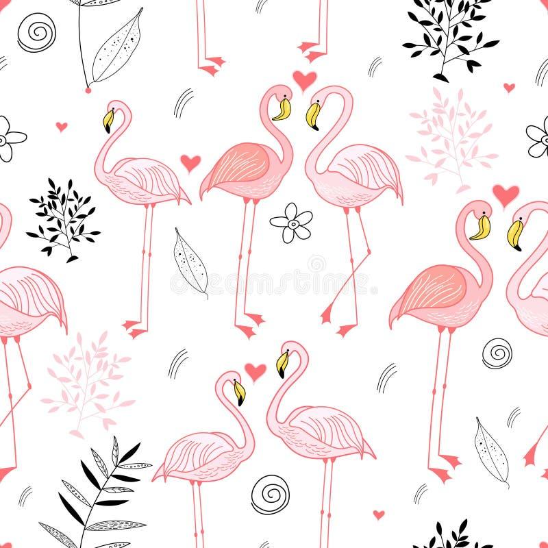 无缝火鸟热情的模式的粉红色 向量例证