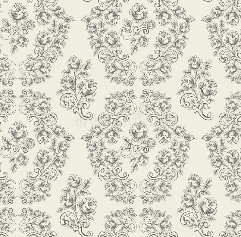 无缝灰色模式的玫瑰 库存例证