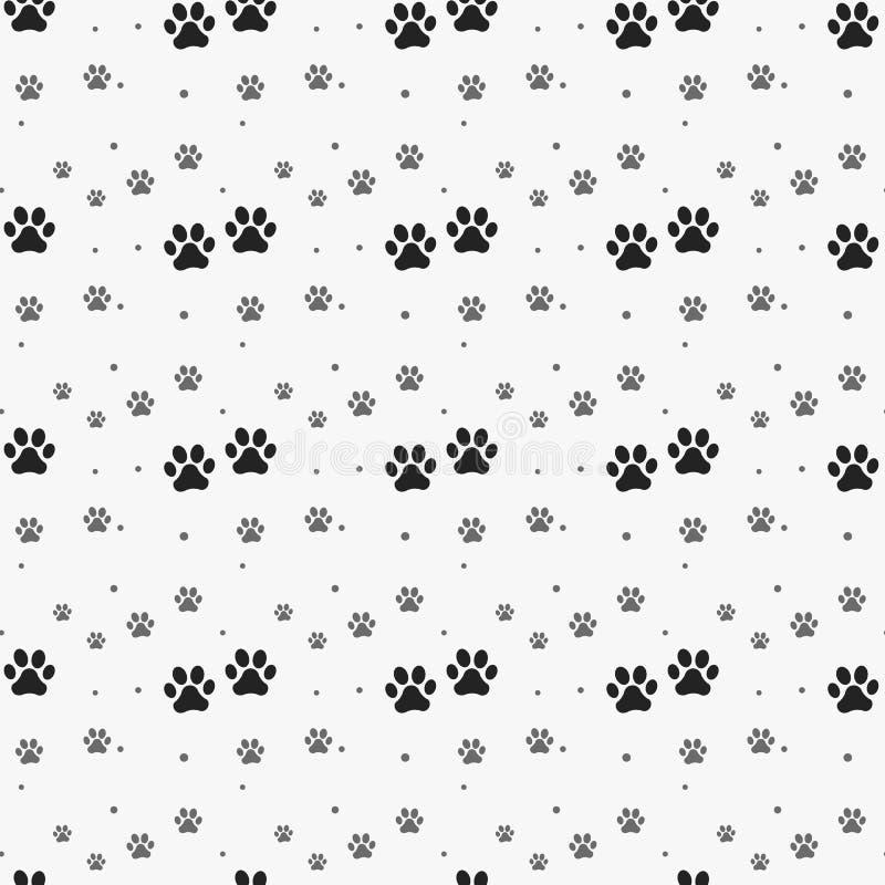无缝爪子的印刷品 猫纺织品样式踪影 猫脚印无缝的样式 无缝的向量 皇族释放例证
