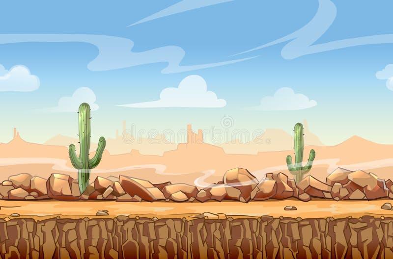 无缝狂放的西部沙漠风景的动画片 库存例证
