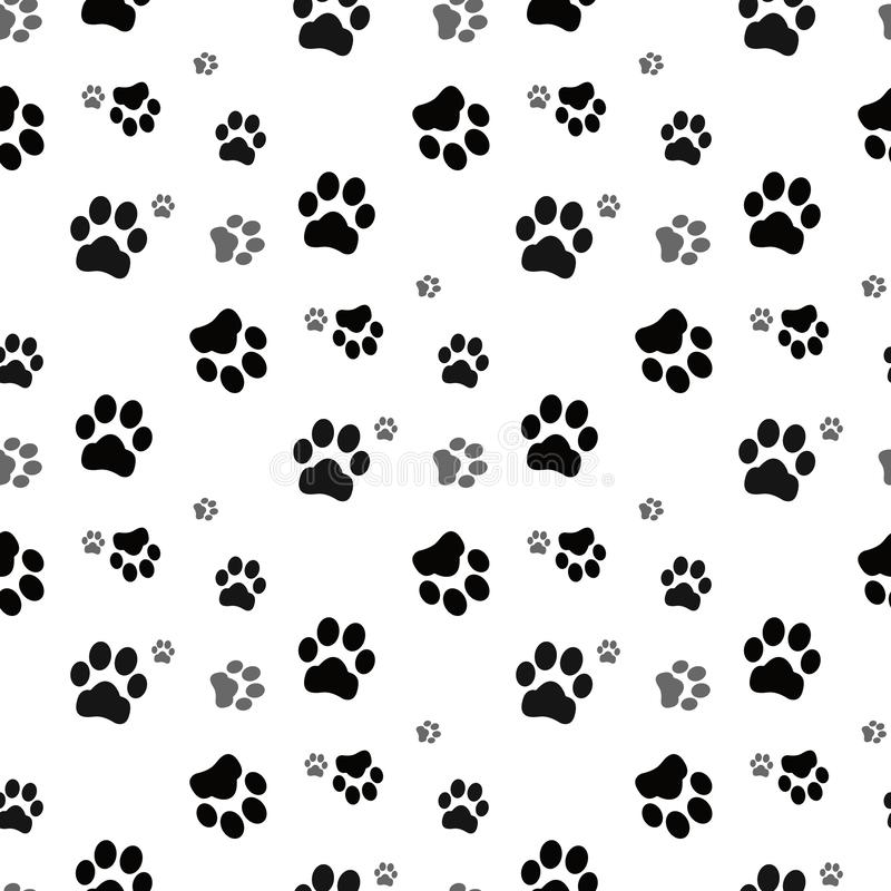 无缝狗的爪子 猫爪子狗爪子小猫传染媒介无缝的样式墙纸背景 皇族释放例证