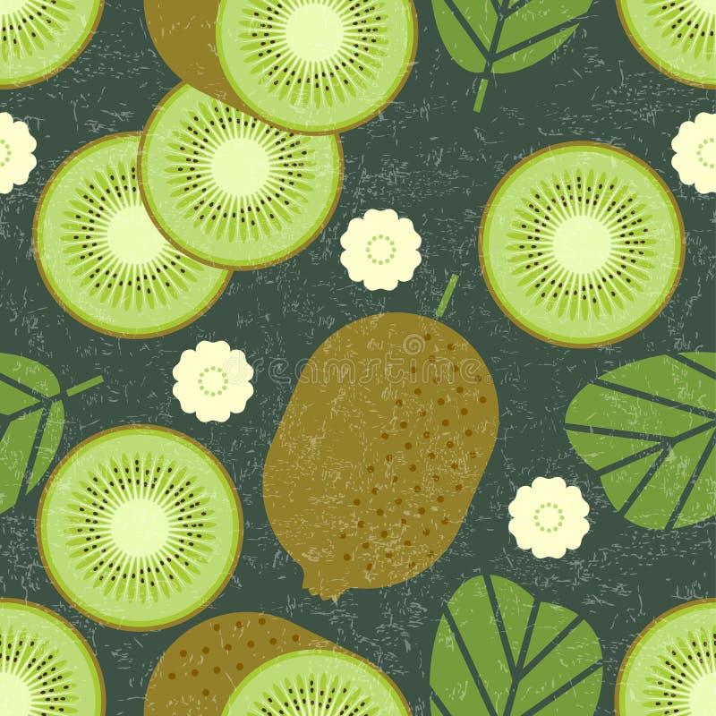 无缝猕猴桃的模式 与叶子和花的整个和切的猕猴桃在破旧的背景 原始的简单的平的illustratio 皇族释放例证