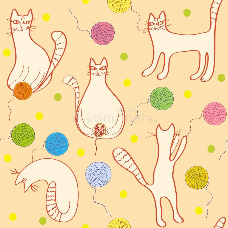 无缝猫滑稽的模式 向量例证