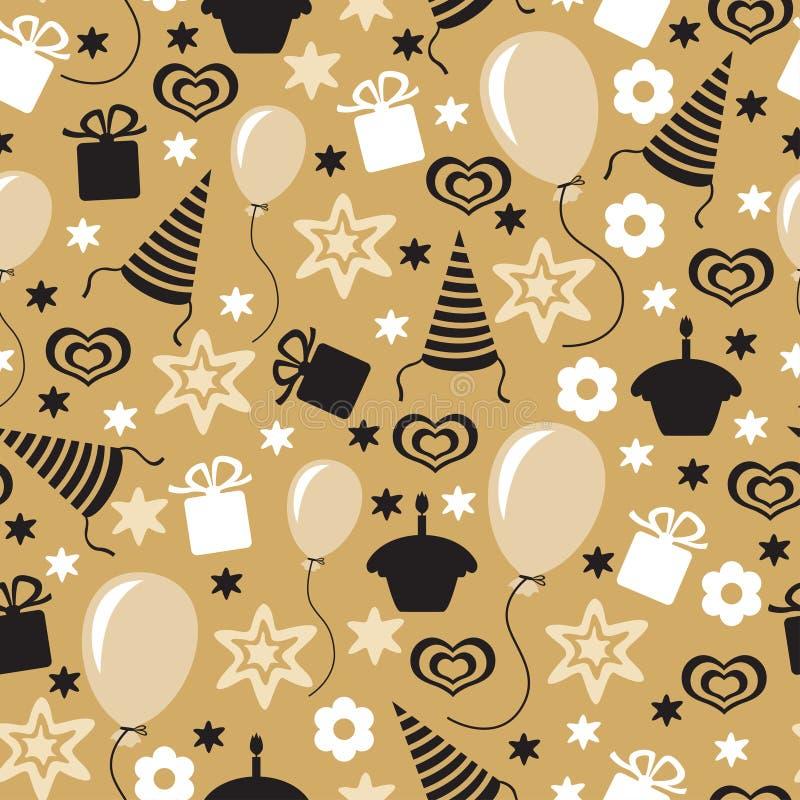 无缝生日快乐金黄的样式 皇族释放例证