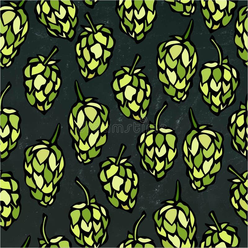 无缝用蛇麻草 啤酒样式 隔绝在黑黑板背景 现实乱画动画片样式 皇族释放例证