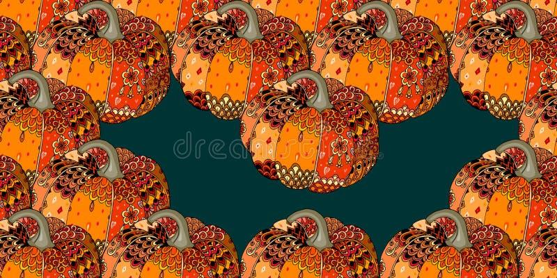 无缝的万圣夜样式用明亮的手拉的南瓜和空的空间 感恩标志 向量例证