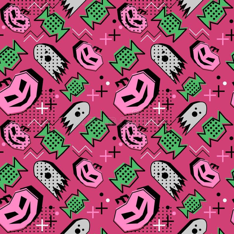 无缝的万圣节样式用孟菲斯几何南瓜和糖果 印刷品的传染媒介例证 库存例证