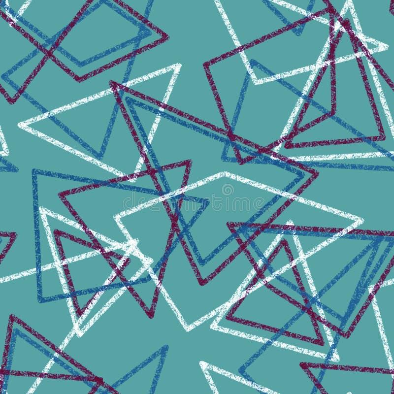 无缝的三角减速火箭的颜色仿造背景几何吸收 库存例证
