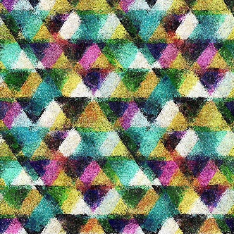 无缝的三角水彩样式背景 库存例证