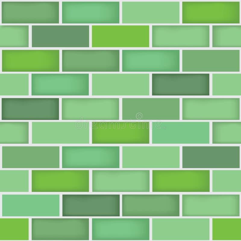 无缝的不同的绿色砖墙样式背景 皇族释放例证