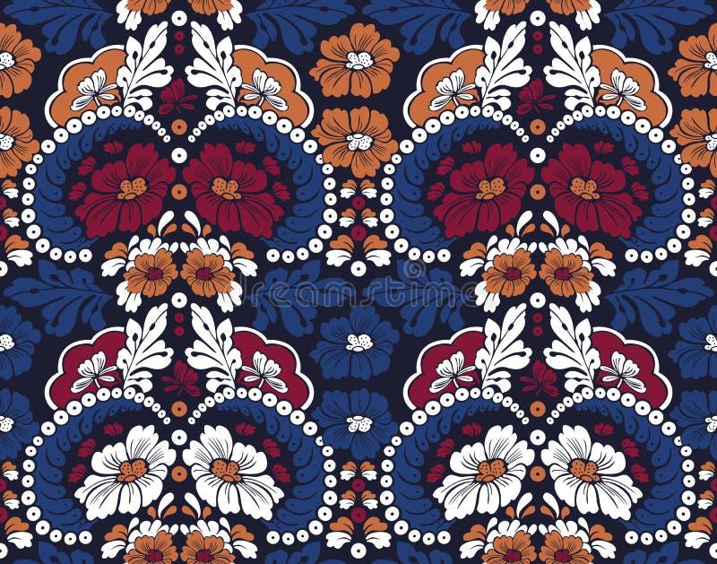 无缝的与叶子的葡萄酒花卉样式在深蓝背景 与蓝色叶子的白色,深红花 向量例证