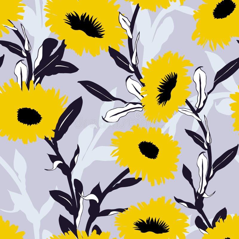 无缝的与大大胆的花的传染媒介花卉样式 向量例证