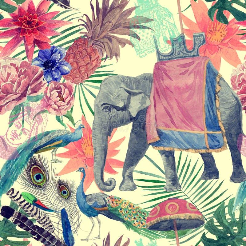 无缝的与大象,孔雀,花,叶子的葡萄酒印地安样式样式 手拉的水彩 皇族释放例证
