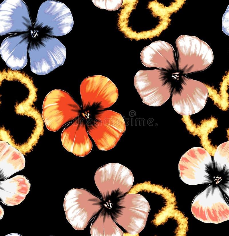无缝的与射击效果的例证花卉样式 库存照片