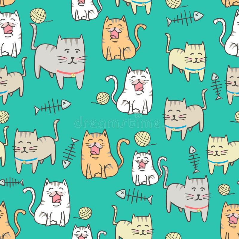 无缝的与手拉的样式的样式逗人喜爱的猫动画片 皇族释放例证