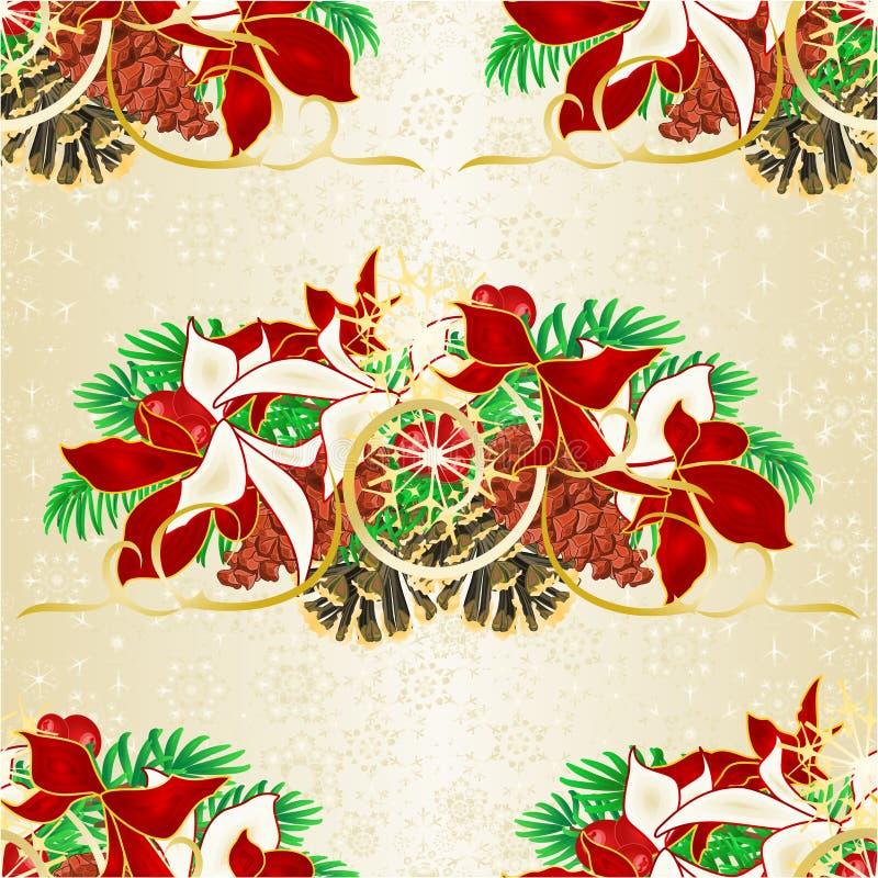 无缝的与杉木锥体的纹理圣诞节和新年装饰云杉的分支与白色和红色一品红葡萄酒传染媒介i 向量例证