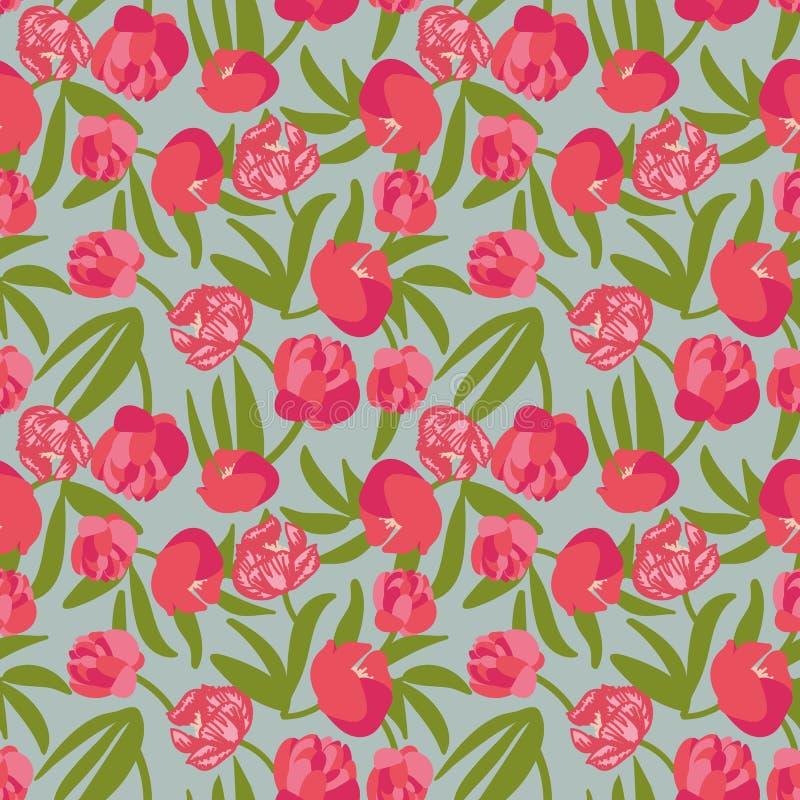 无缝的与桃红色牡丹的传染媒介花卉样式 皇族释放例证